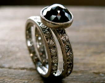 Black Diamond Engagement Ring & Diamond Wedding Band in Palladium with Scroll Work Size 6