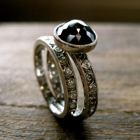 Black Diamond Engagement Ring & Diamond Wedding Band in