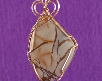 "Red Creek Jasper Pendant Necklace 14k Gold Filled Wire Heart Shaped Top Light Beige Blue/Green Dark Brown veining 2 1/4"" x 1 1/4""  P262"