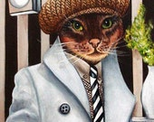 Custom Cat Portraits Cats in Clothes Original Oil Paintings Cat Art Too Cool Charlie by k Madison Moore