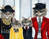 Custom Cat Portraits and Oil Paintings Cats in Clothes Paintings Original Art Traditional Animal Portraits by k Madison Moore