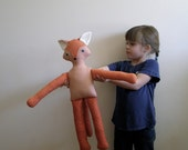 Skinny Fox -  stuffed animal, children's toy, soft sculpture, polka dots, cuddly animal, birthday gift, Valentine's Day Gift