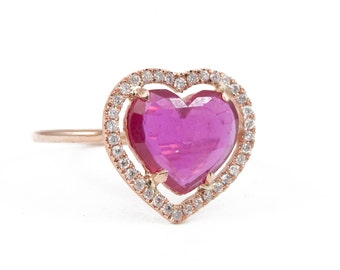 Heart Ruby Ring, Pink Ruby Ring, Heart Gold Ring, Engagement Ring, Valentines Ring.