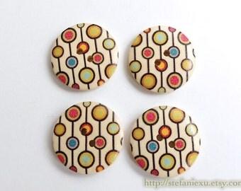 4PCS Wooden Buttons - Nordic Spring Color Polka Dots Chain (4PCS, D=2.3cm)