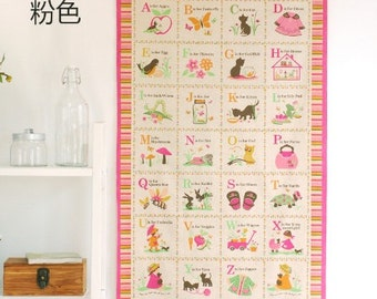 Home Decor, Wall Hanging Fabric, Retro Pink Girl 26 English Letters Animal Alphabet- Linen Cotton Blended Fabric (1 Panel, 23x55 Inches)