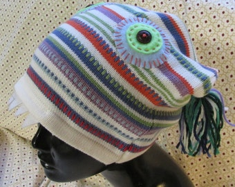 Monster Hat upcycled sweater green eyes fangs tassels eco friendly funky fun warm