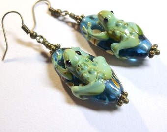 Lampwork Art Bead Earrings, Teal, Olive, Rust, Seafoam, Oval Lampwork, Frogs, Antique Brass, Spiritcatdesigns