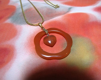 Vintage Carnelian Chinese Circlet & Heart Necklace- Hot  Translucent Orange Heart In circle of Carnelian