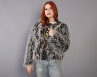 90s SHAGGY Faux Fur COAT / Fluffy Black & White Cropped JACKET, xs-s