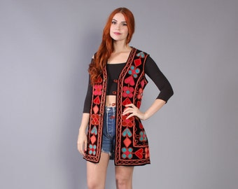 60s ETHNIC Applique VELVET VEST / 1960s Boho Floral Metallic Layering Jacket