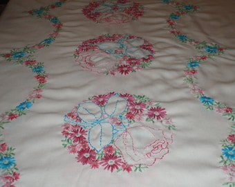 Vintage Twin Bed top or table cloth