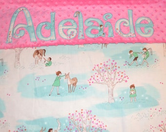 Personalized Minky Blanket - You choose the fabrics, Colors and Font