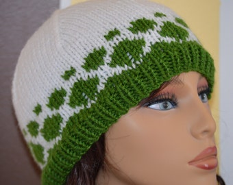 Knit Hat - Green and White Knit Hat
