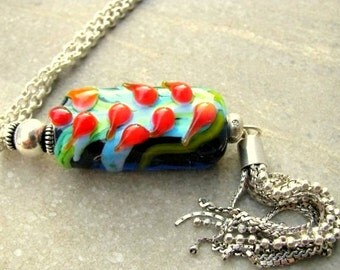 TULIP FESTIVAL- Lampwork glass beads -pendant, 925 sterling silver chain and tassel, transparent navy