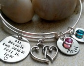 All Because Two People Fell In Love Bracelet -Alex and Ani Style Bracelet- Name Bracelet-Expandable Bracelet-Gift for her-Family Name Charms