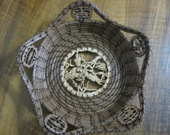 Pine Needle Basket with a Scroll Sawn Image of a Flying Pheasant