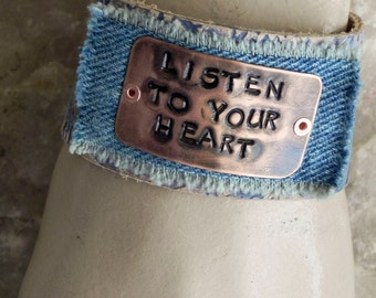 Leather and Copper Cuff Bracelet with Stamped Listen To Your Heart