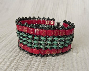 Red and Turquoise Beaded Bracelet - Czech Glass Tiles and Superduos