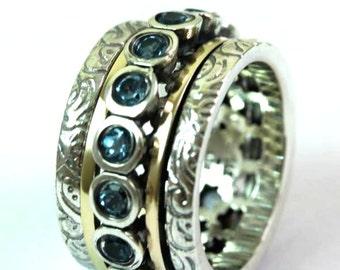 Beautiful Spinner ring / cz ring / cocktail ring Blue Topaz Gemstones
