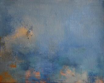 "Original Abstract Painting Art Grey Blue Minimalist Acrylic Painting 9,5""x12"""