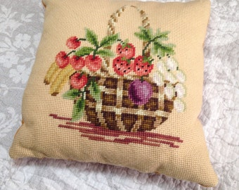 Vintage Small Pillow FRUIT BASKET Needlepoint with Velvety Backing
