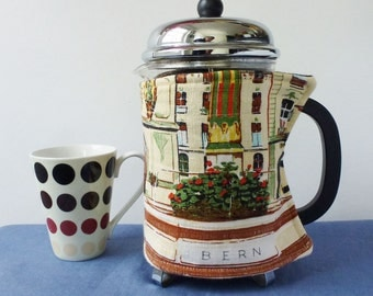 EXTRA LARGE French press cosy, Swiss city Bern, repurposed linen fabric, cafetiere cozy, retro graphics