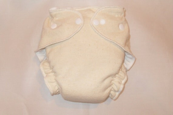 Hemp/Zorb fitted diaper with snaps