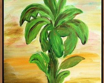 Banana Palms Tree Vertical hallway rug from my art, available in 4 sizes