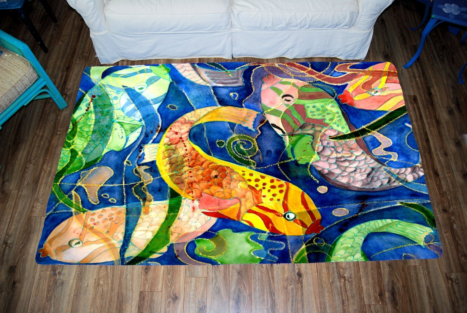 Tropical fish large plush area rug from my art for Fish area rug