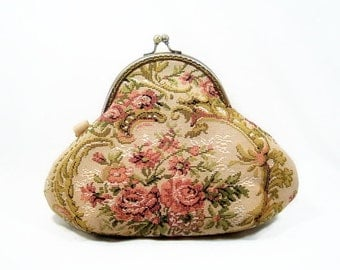 Victorian Inspired Floral Tapestry Clutch Wristlet