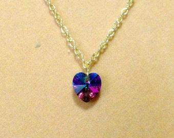 SALE    Crystal Heart Necklace, Bridesmaid Heart Necklace, Wedding Necklace / Layering necklace