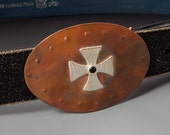 Handcrafted Cross Belt Buckle - Copper and Sterling Silver