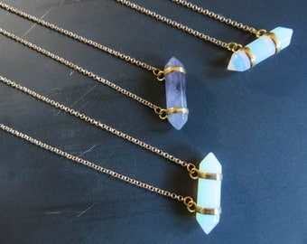 Sideways Milky White Opal Amethyst Quartz Nugget Crystal Point Necklace Gold Silver Chain Purple Opalite Stone Simple Charm Pendant Choker