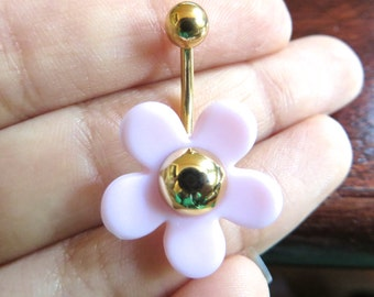 Belly Button Ring Jewelry. Light Pink Cherry Blossom Mod Flower Power Daisy Belly Button Jewelry Navel Ring Piercing Bar Barbell Hippie Gold
