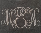 Fancy Script Monogram on Fleece Sweatshirt by Jerzees