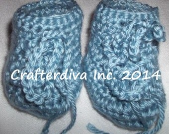 Blue Baby Booties 6 - 12  months For Boy or Girl Hand Crocheted