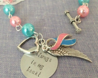 Bracelet. Miscarriage, loss, infertility, pregnancy loss, awareness, blue, pink, angel wing, always in my heart.