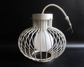 Vintage Mid Century Modern Wire Ball Ceiling Lamp in White
