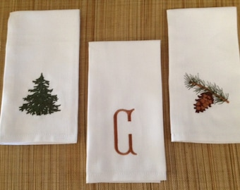 Rustic Embroidered Dinner Napkins, set of Six