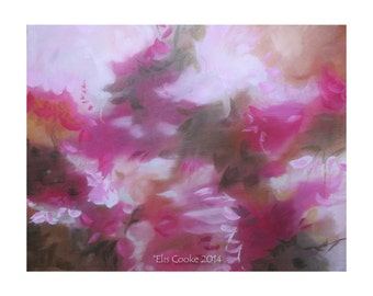 Modern Expressionist Original Abstract Art Contemporary Acrylic Painting Pink gold Brown.Immersion II