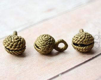5 Handmade African Brass Bells 16x10mm Coiled Motif, Belly Dance, Ethiopian