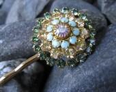 Green and Gold Starburst Swarovski Crystal Floret Bobby Pin