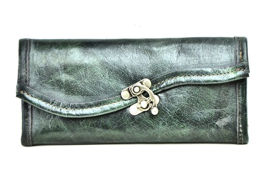 Large Leather Wallet - Industrial Olive Green Steampunk Rustic Chequebook Wallet