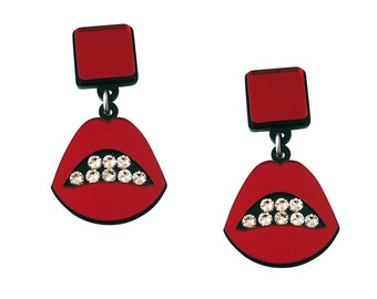 Sealed With a Kiss Acrylic Earrings in Red