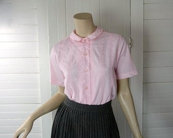 60s Sweet Pink Blouse- 1960s Peter Pan Collar- Small / Medium