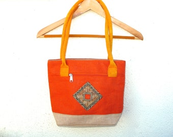 Vintage Burlap Straw Purse Shoulder Bag ORANGE Tribal, Summer Festival Beach Bag