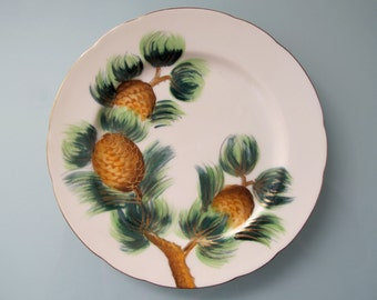 Vintage Saji Japan Hand Painted Pinecone Plate Small Plate 7.25 inch Gold Gilt