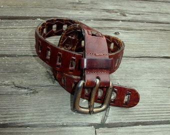 Vintage Belt Boho Southwest / Woven Leather Belt size S M adjustable fits most, Distressed Leather