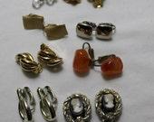Lot of 8 Pair 1970s Clip-On Earrings, Destash Wardrobe