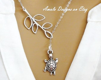 Lariat Style Silver Baby Turtle Necklace